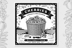 复古农场樱桃收获季节主题矢量插画 Retro Cherry Harvest Label With Landscape插图1