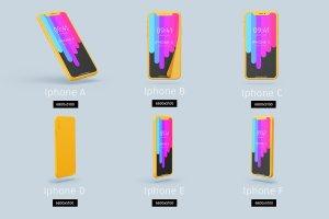 独特的纸质iPhoneX展示模型下载 Paper model iPhoneX mockup [psd]插图2