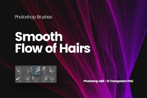 数码仿真柔顺头发特效图案PS笔刷 Digital Smooth Flow of Hairs Photoshop Brushes插图1