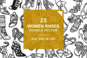 25款时尚女鞋涂鸦矢量图形图案素材 Fashion Shoes / Hi Hill Doodle Vector插图(1)