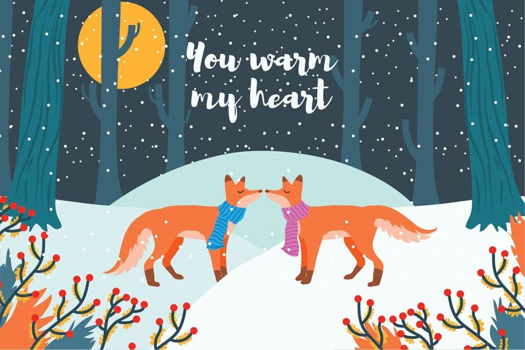 爱情主题狐狸情侣矢量图插画素材 Fox – Vector Illustration插图