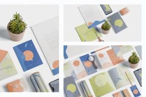 创意品牌VI视觉设计办公用品套装等距网格样机模板 Stationery Mockup Scenes插图2