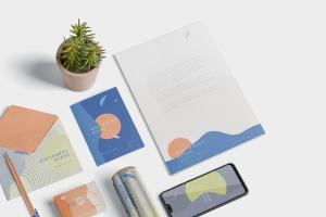 创意品牌VI视觉设计办公用品套装等距网格样机模板 Stationery Mockup Scenes插图1
