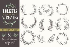 简洁且精美的花环剪贴画  Whimsical Laurels & Wreaths Clip Art插图1