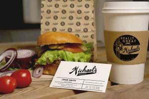 汉堡咖啡品牌样机模板 Burger Cafe Mockup插图1