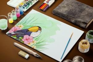 巨嘴鸟&花卉水彩手绘矢量插画素材 Tropical Vibes Vector Design Kit插图5