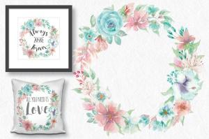 """""""珊瑚与海"""":水彩花圈和花束水彩手绘剪贴画PNG素材 """"Coral and Sea"""": Watercolor Wreath and Bouquets插图2"""