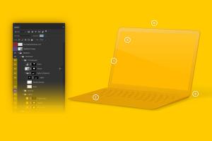 MacBook笔记本电脑屏幕演示右视图样机 Clay MacBook Mockup, Right View插图6