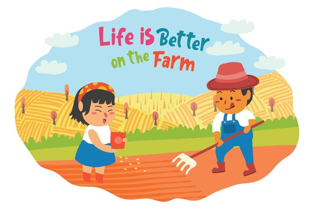 卡通风格农场元素矢量插画素材 Farmers – Vector Illustration插图