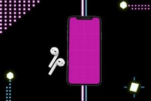 在线音乐APP设计效果图样机模板 Neon Music App MockUp插图10