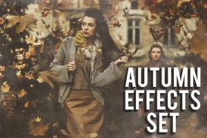 金黄色秋季氛围照片效果PS图层样式 Autumn Effects Set插图1