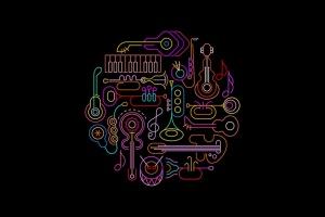 霓虹设计风格音乐乐器主题圆形矢量插画 Musical Instruments Neon round shape vector design插图3