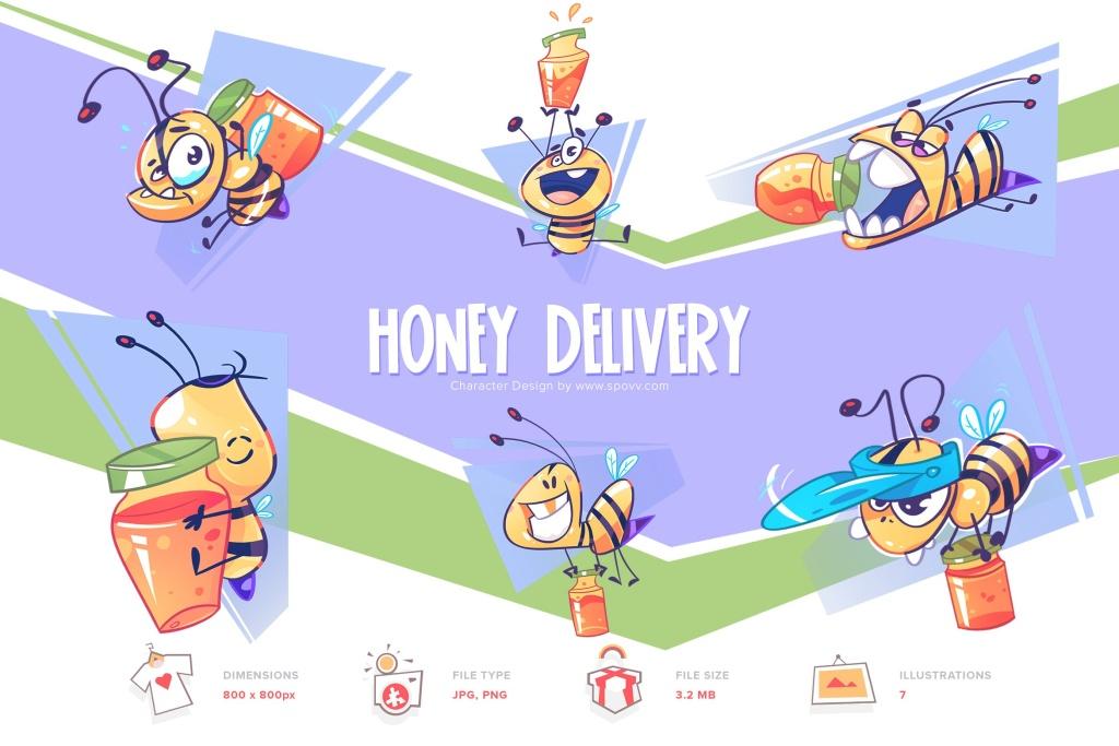 勤劳的蜜蜂手绘卡通形象插画PNG素材 Honey Delivery插图