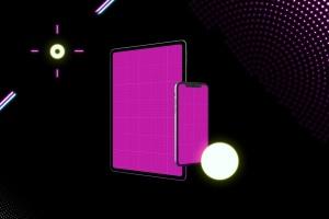 霓虹灯背景iPhone XS & iPad Pro样机模板 Neon iPhone XS & iPad Pro插图8