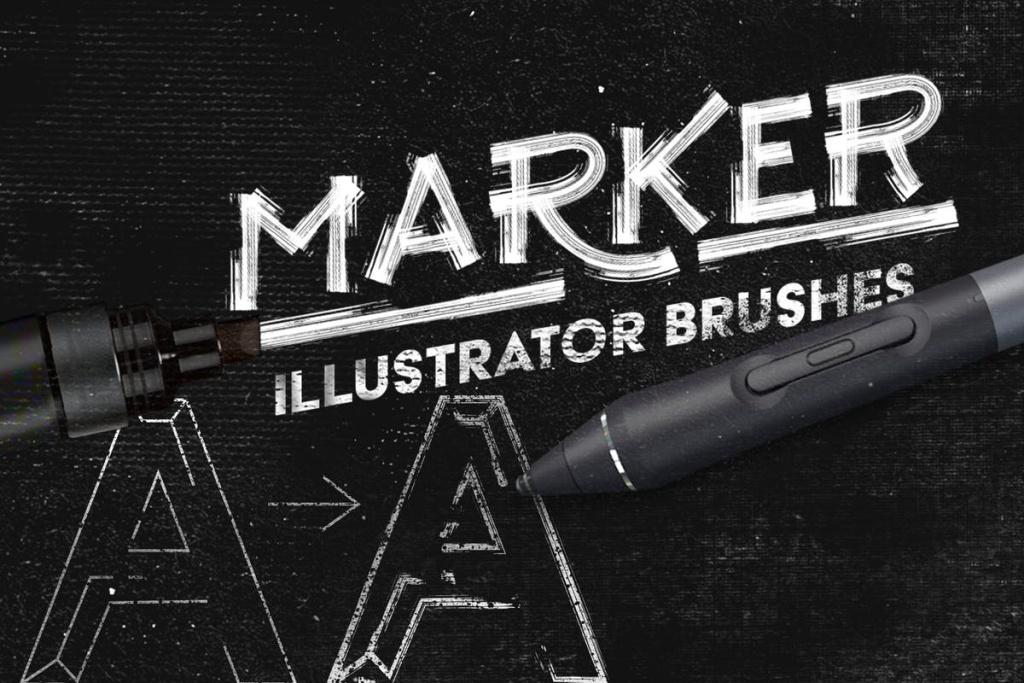 马克笔数码绘画AI画笔笔刷 Marker Illustrator Brushes插图