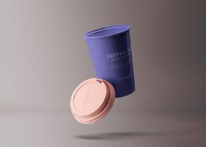 创意纸杯设计定制外观效果图样机模板 Flying Coffee Cup Mockup插图1