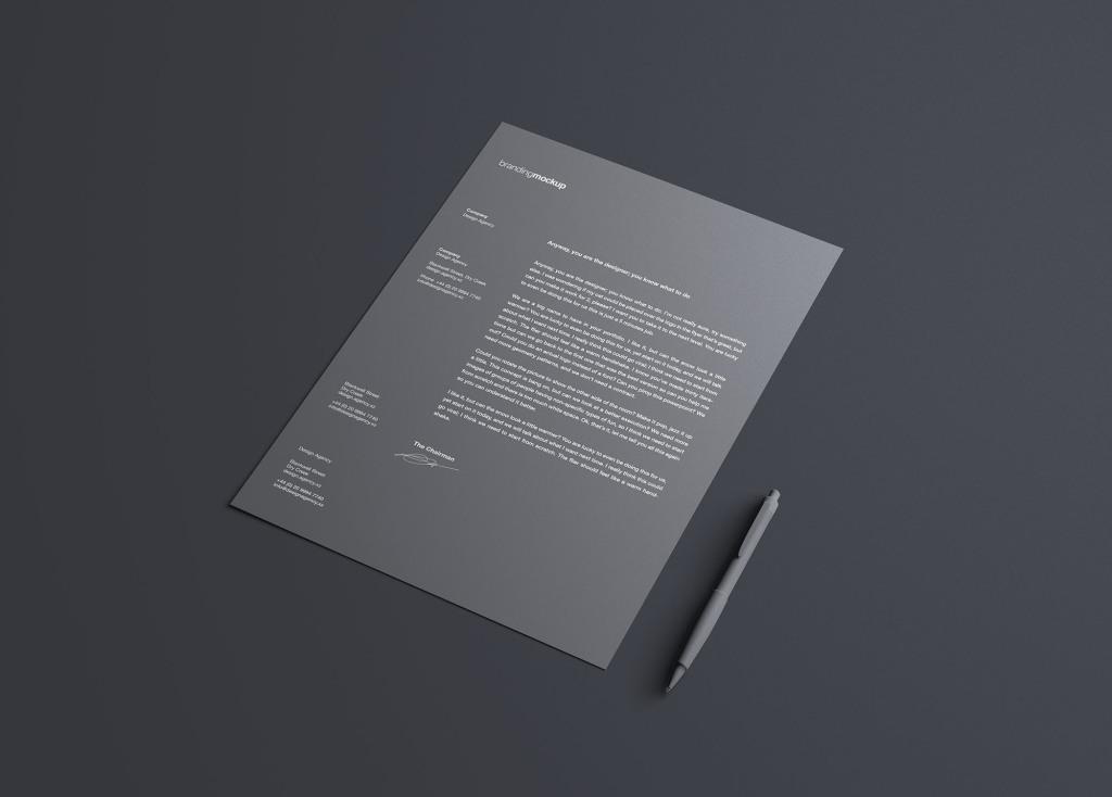 简约风企业信纸设计效果图样机 Simple Letterhead Mockup插图