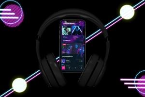 在线音乐APP设计效果图样机模板 Neon Music App MockUp插图4