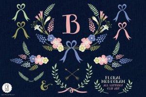 花环桂冠花背景装饰素材 Floral wreaths laurels monogram C75插图1