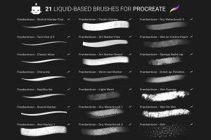 手绘插画概念艺术家Procreate笔刷[水墨/马克笔/水彩] Nautika – Brush Pack for Procreate插图(9)