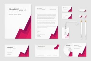 企业VI标识设计预览办公用品套件样机 Branding Identity – Material Triangle for Psd插图1