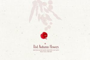 秋天红色水彩手绘花卉剪贴画PNG素材 Red Autumn Flowers插图6