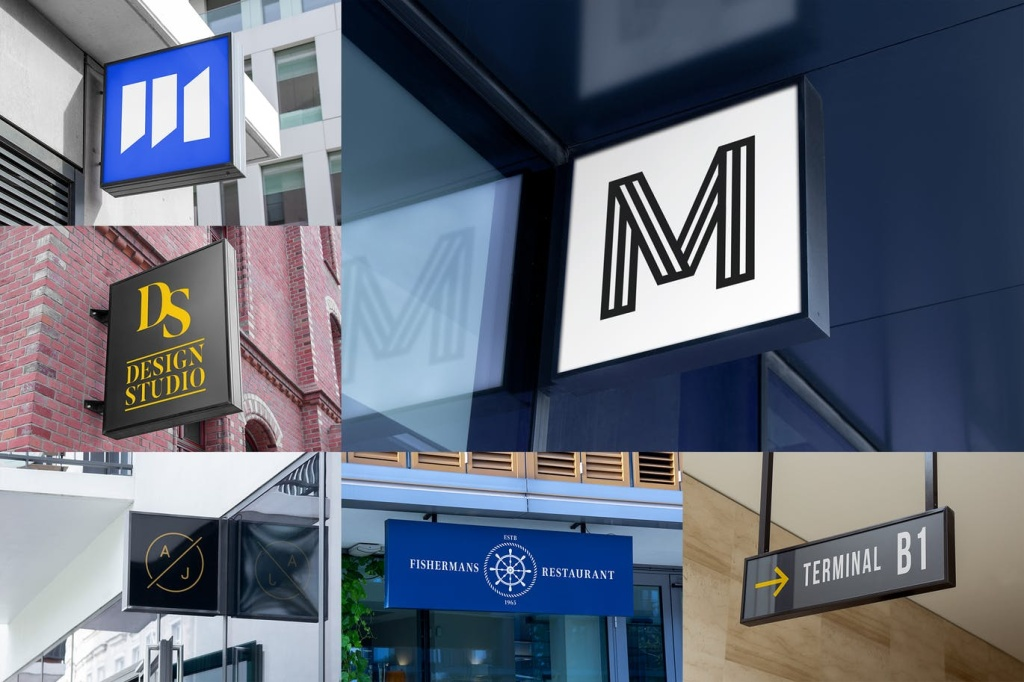 悬挂Logo标志/店招设计效果图样机模板v1 Logo Hanging Signage Mockups Vol. 1插图