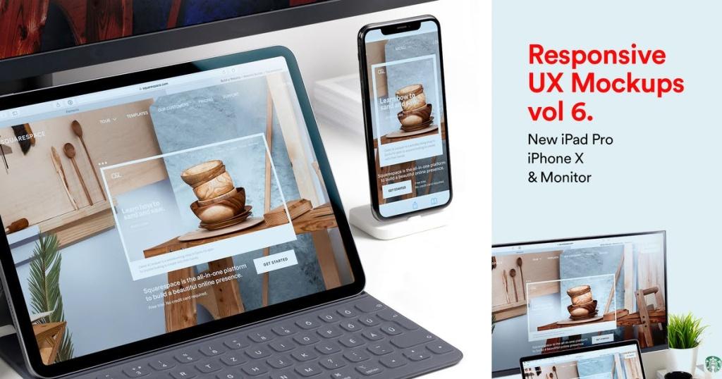 响应式设计效果预览iPad Pro&iPhone X样机模板v6 New iPad Pro & iPhone X Responsive Mockups Vol 06插图