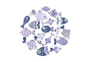 奇异鱼类矢量图形设计素材 Exotic Fish round shape vector designs插图4