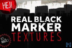 逼真黑色记号笔笔画纹理 REAL BLACK MARKER TEXTURES插图1