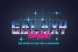 80年代复古文本图层样式 80s Retro Illustrator Styles插图7