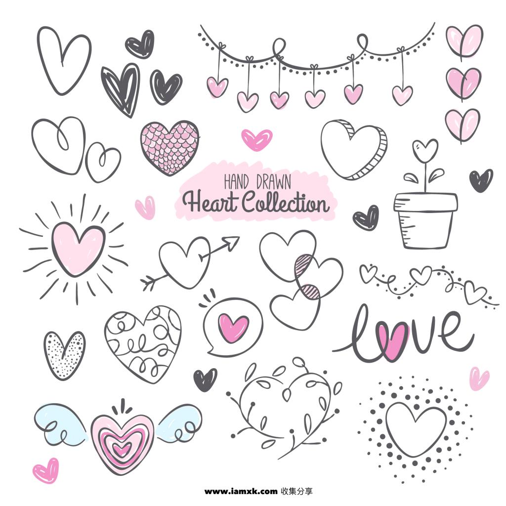 手绘心形合集 Fantastic pack with variety of hand drawn hearts插图