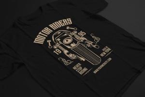 摩托车骑手手绘插画T恤印花设计模板 Motorcycle Riders T shirt Design Template插图2