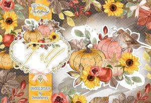 秋季南瓜水彩手绘剪贴画PNG素材 Fall Pumpkin design插图3