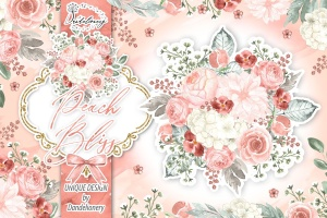 桃花色水彩手绘花卉剪贴画PNG素材 Watercolor Peach Bliss design插图1