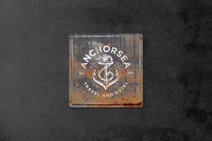 复古做旧生锈金属板风格Logo设计效果图样机 Vintage Rusty  Metal Plate  Mockup插图1