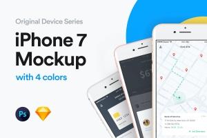 iPhone 7手机样机模板[4种颜色] iPhone 7 Mockup插图1