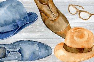男士服饰水彩剪贴画素材 Watercolor Gentleman\\\\\\'s Wardrobe插图3