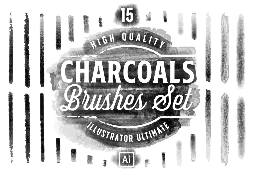 15款木炭画笔AI笔刷 Charcoals Brushes Set for Adobe Illustator插图