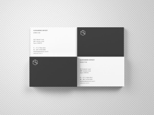 名片设计俯视图样机模板 Business Cards Mockup Top View插图2