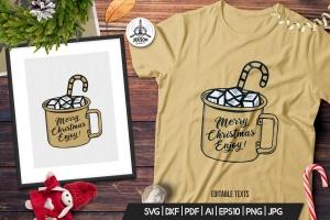 圣诞节主题马克杯手绘图案T恤印花设计素材 Christmas Mug T-Shirt. Vector Print, Holiday SVG插图1