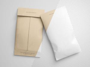 牛皮纸信封设计图样机模板 Twin Envelope Packages Mockup插图2