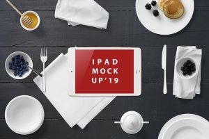 西式早餐场景iPad Mini设备展示样机 iPad Mini Mockup – Breakfast Set插图5