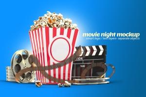 电影之夜爆米花电影院场景样机模板 Movie Night Mockup插图1