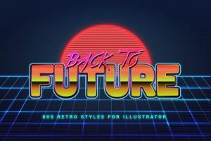 80年代复古插画风格PS字体样式 for AI 80s Retro Illustrator Styles插图8