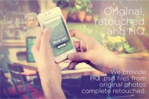 手持旧款iPhone手机样机模板 iPhone Mock-ups – No-stock edition插图5