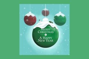 创意圣诞装饰球设计PSD分层模板 Christmas Ball插图3