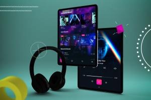 抽象设计风格iPad Pro平板电脑APP设计屏幕预览样机 Abstract iPad Pro Music App插图6