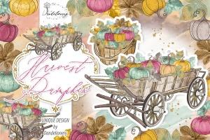 丰收季节秋天农场手绘图案PNG素材 Harvest Pumpkin design插图1