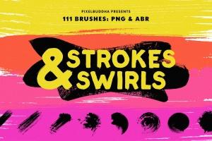 111个非凡令人着迷的PS画笔笔刷 Swirls & Strokes Brushes Set插图1